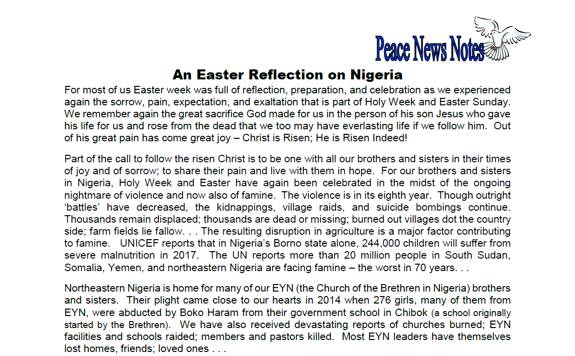 Peace News Notes an Easter Reflection on Nigeria