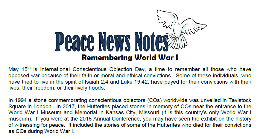 Peace News Notes-International Conscientious Objection Day