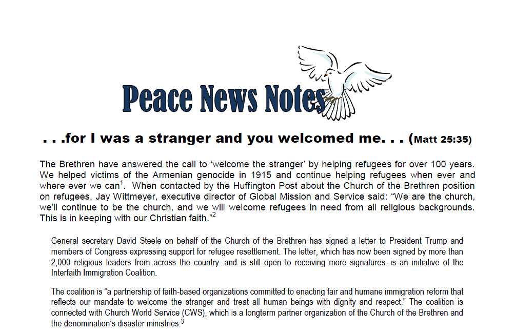Peace News Notes on Refugees